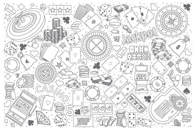 Casino doodle vector set Premium Vector