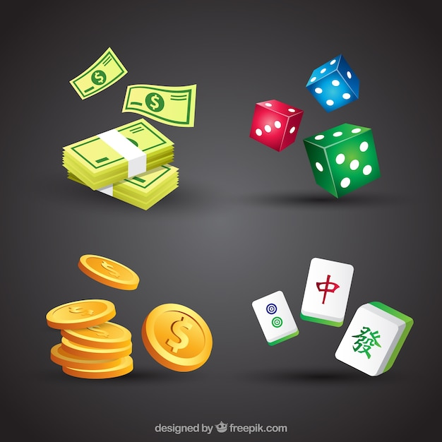Casino elements collection on black background Free Vector