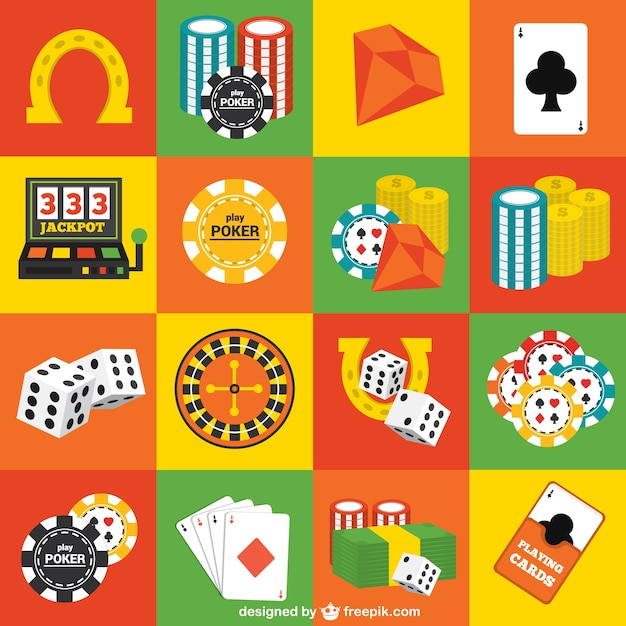 Casino elements pack Free Vector
