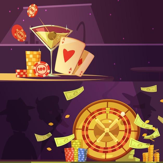 Casino equipment banner set Free Vector