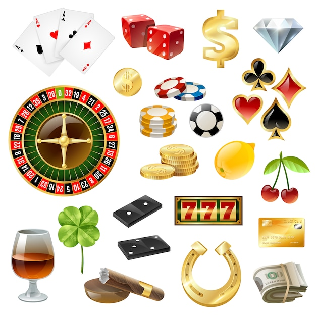 Casino equipment symbols accessories glossy set Free Vector
