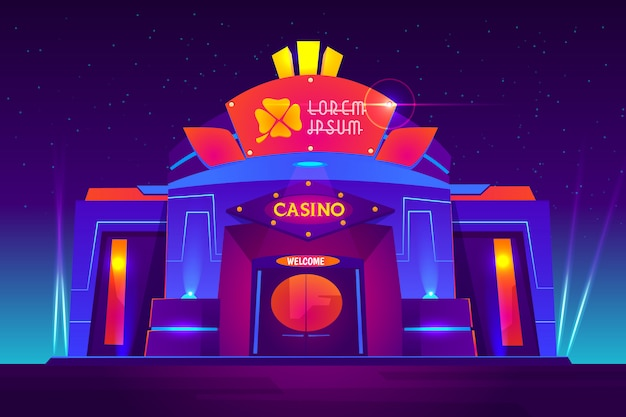 Casino exterior with neon lights. gambling house front view with clover sign on entrance Free Vector