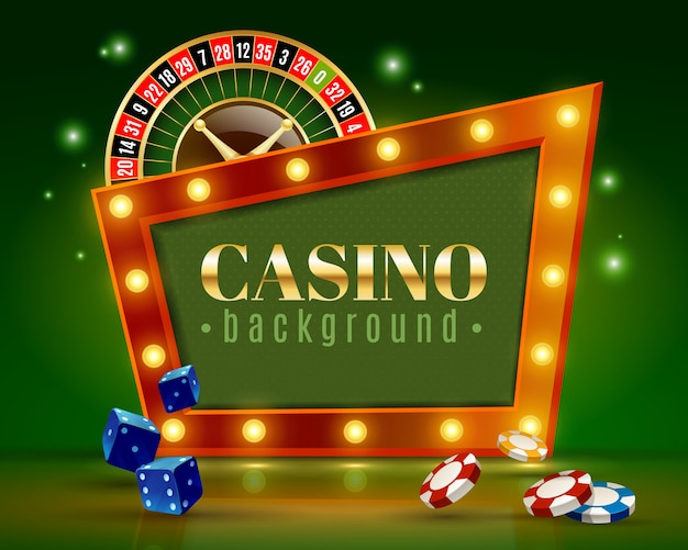 Casino festive lights green background poster Free Vector