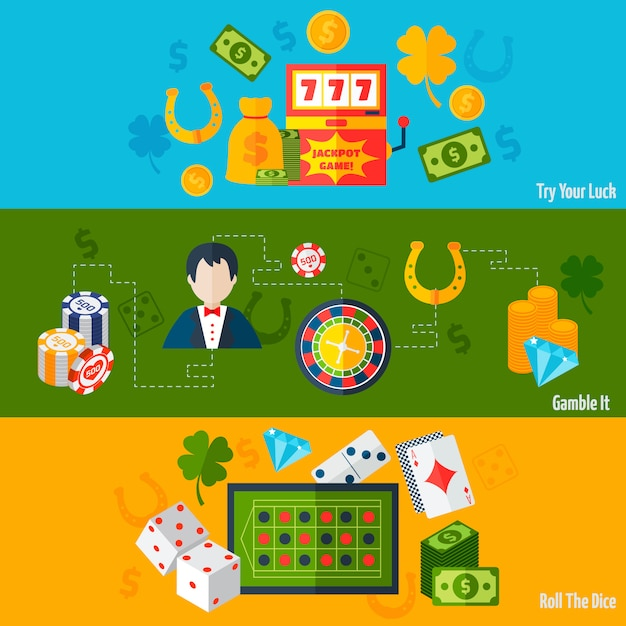 Casino flat banners Free Vector