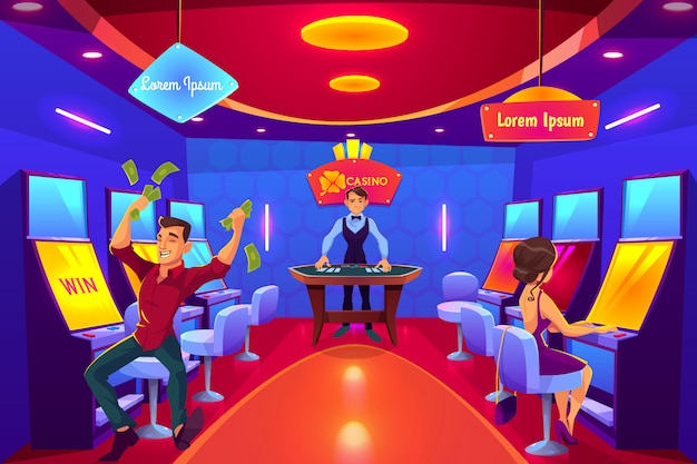 Казино игровой зал интерьер мультфильма. Бесплатные векторы