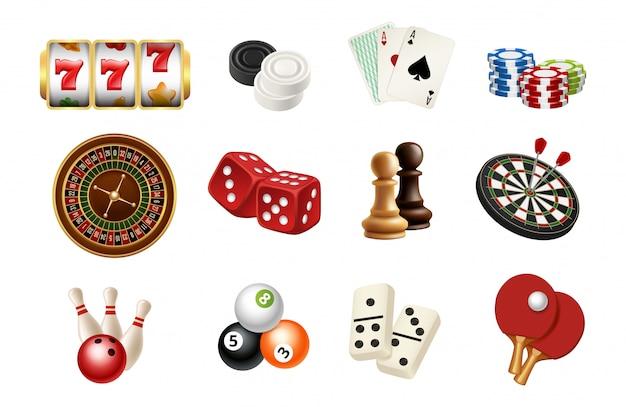 Casino and gambling sport games icons.  realistic chess, skittles, balls, casino roulette, slot machine Premium Vector
