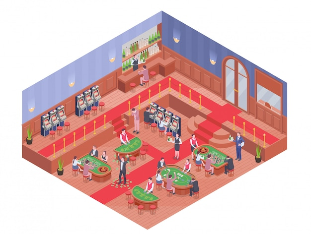 Casino hall with bar and people playing different gambling games isometric composition 3d Free Vector