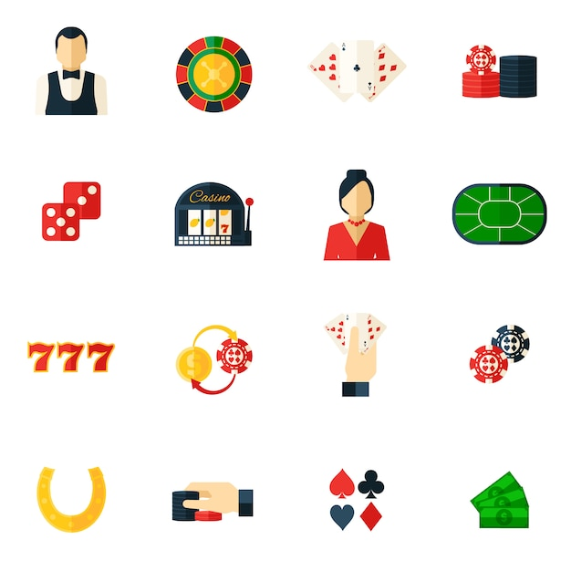 Casino icon flat Free Vector