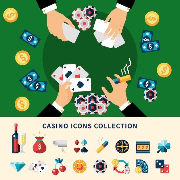 Casino icons collection flat composition Free Vector
