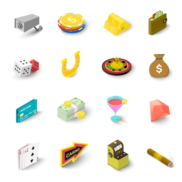 Casino icons set. isometric illustration of 16 casino vector icons for web Premium Vector