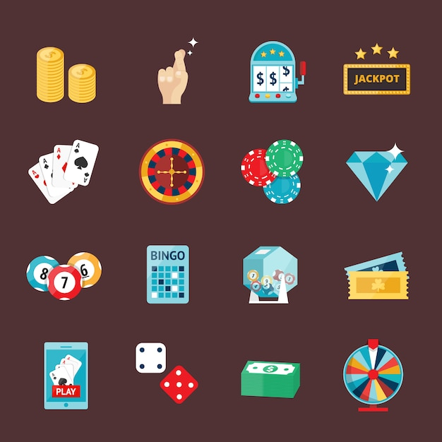 Casino icons set with roulette gambler joker slot machine isolated vector illustration. Premium Vector