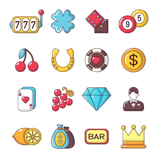 Casino icons set Premium Vector