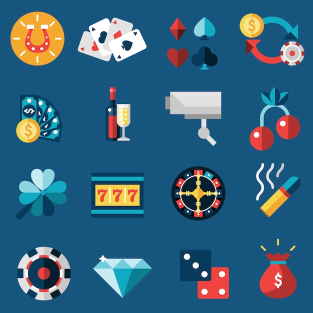 Casino icons set Free Vector