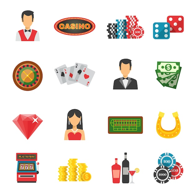 Casino icons set Premium Vector