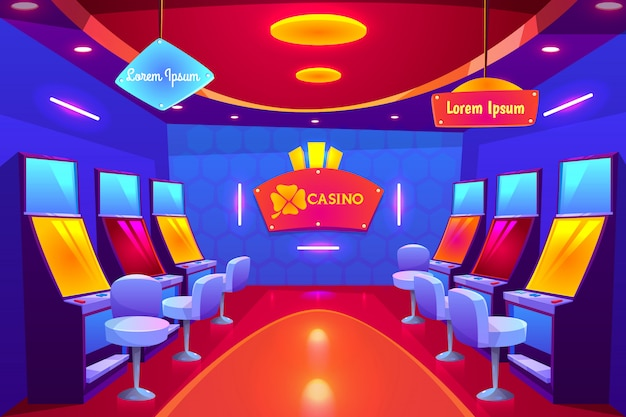 Casino interior, empty gambling house with slot machines stand in raw and illumination. Free Vector