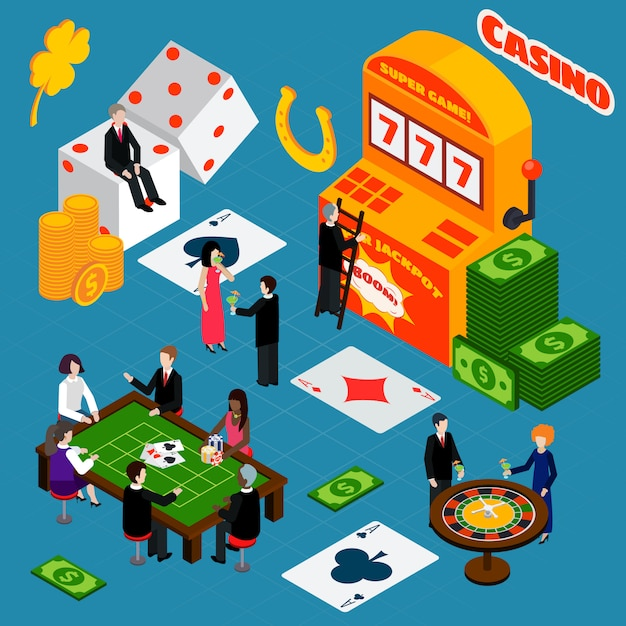 Casino interior luck symbols isometric banner Free Vector