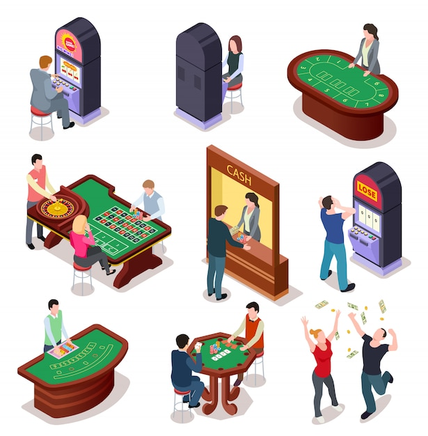 Casino isometric character set. poker roulette table, slot machines in playing room. nightclub entertainment casino gambling 3d vector set Premium Vector