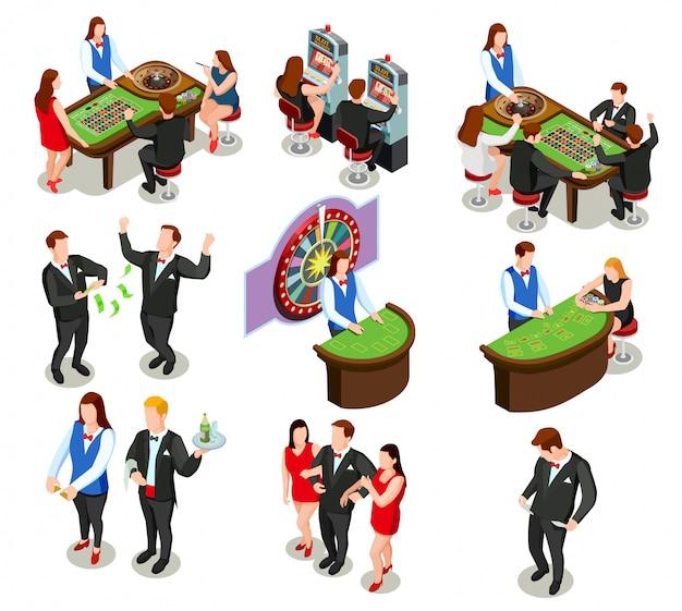 Casino isometric decorative icons Free Vector