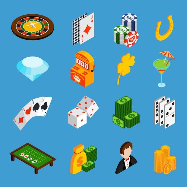 Casino isometric icons set Free Vector