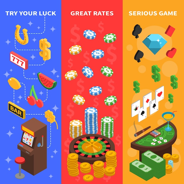 Casino isometric vertical banners Free Vector