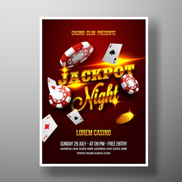 casino jackpot night flyer template or banner vector premium
