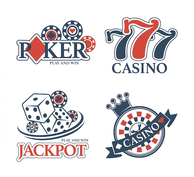 Premium Vector Casino Jackpot And Poker Club Isolated Promotional Emblems Set