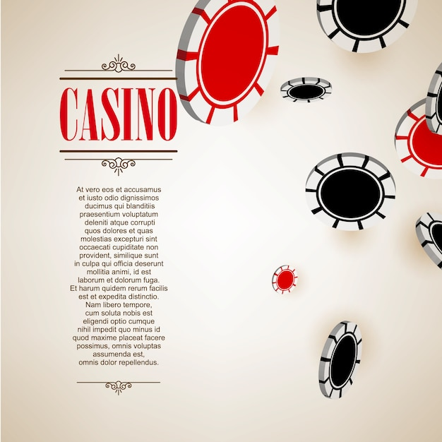 Casino logo poster background or flyer. casino invitation or banner template with flying poker chips . game design. playing casino games. vector illustration. Premium Vector