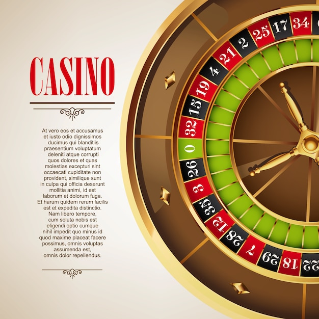 Casino logo poster background or flyer. casino invitation or banner template with roulette wheel. game design. playing casino games. vector illustration. Premium Vector