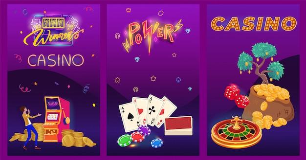 Казино неоновый баннер, карточная игра азартные игры, мультипликационный персонаж победитель джекпот люди, иллюстрация Premium векторы