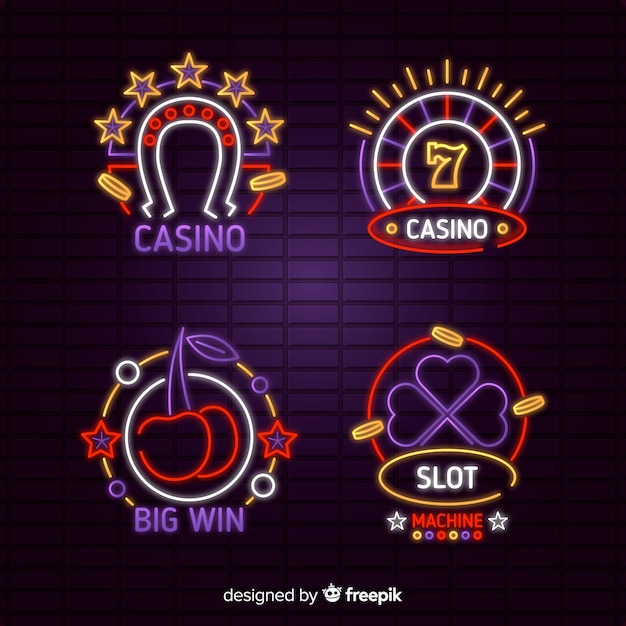 Casino neon sign collection Free Vector