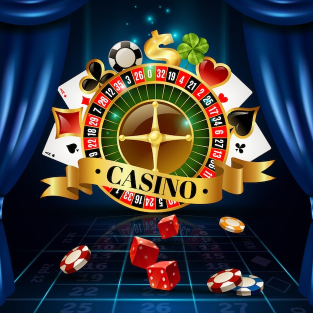 Casino night games symbols composition poster Free Vector
