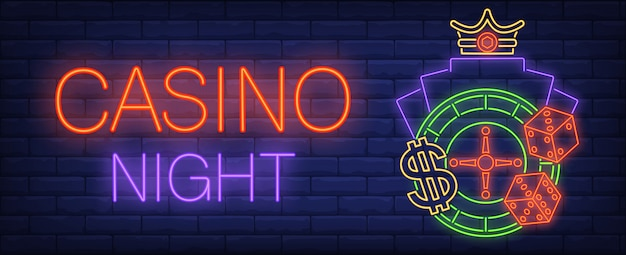 Casino night neon sign. dice, roulette and glowing inscription on brick wall background Free Vector