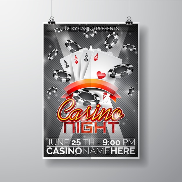 Casino Night Poster Template Vector Free Download
