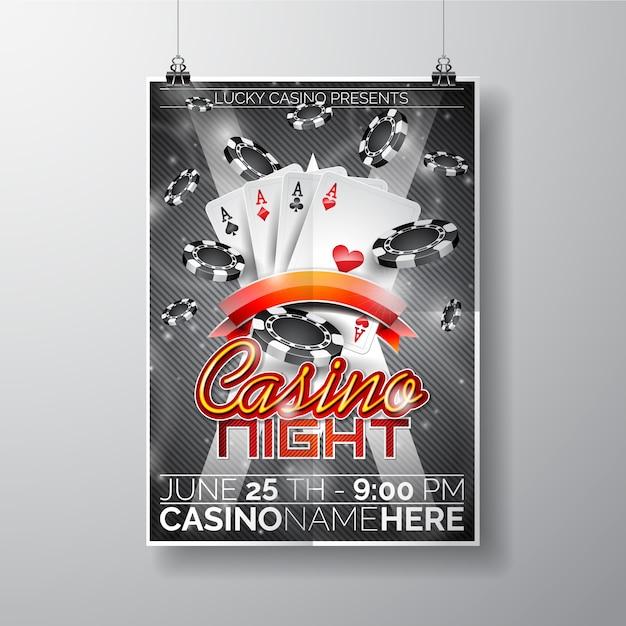 casino night poster template free vector