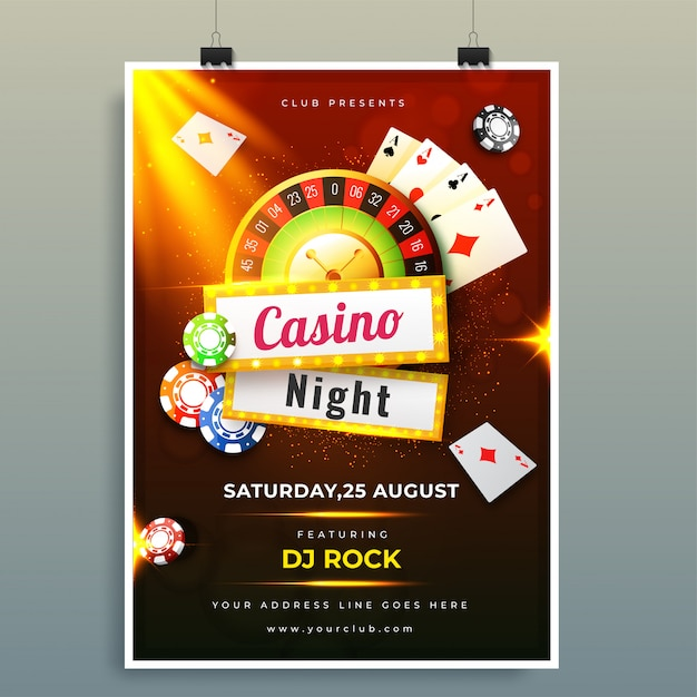 Casino night template or flyer design with chips, coins, playing Premium Vector