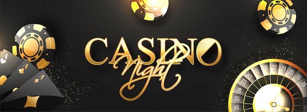 Заголовок веб-сайта или баннер с золотым текстом casino night. Premium векторы