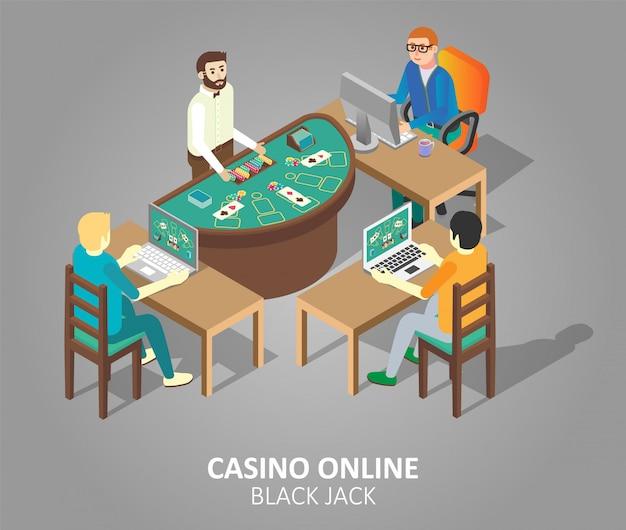 Premium Vector Casino Online Blackjack Game Illustration