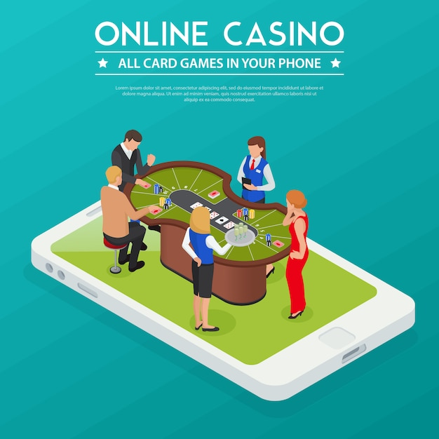 Casino online cards games from smartphone or tablet isometric composition with players on device screen Free Vector