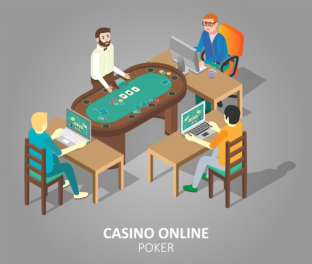 Casino online poker vector isometric illustration Premium Vector
