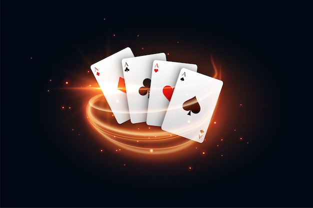 Casino playing card with golden light streak Free Vector