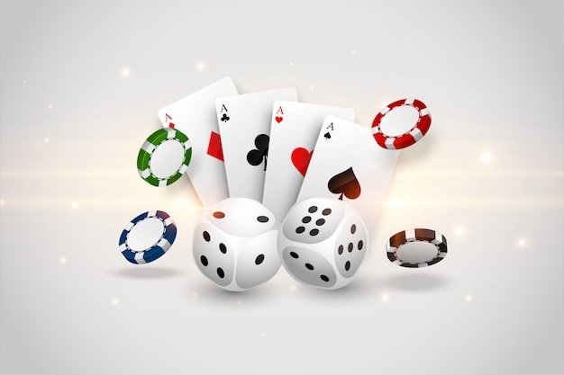 Casino playing cards dice and flying chips background Free Vector