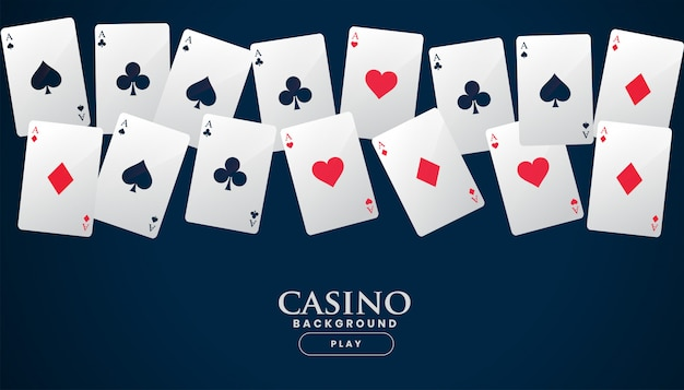 Casino playing cards placed in a line background Free Vector