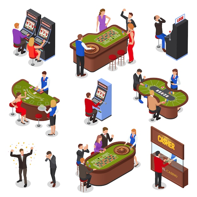 Casino playing room isometric elements set with slot machines roulette black jack cards games isolated illustration Free Vector