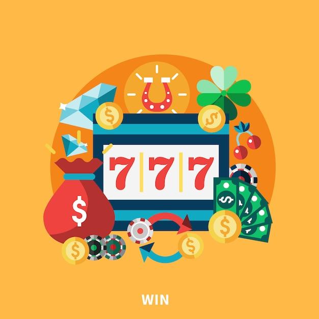 Casino pockie machine round composition Free Vector