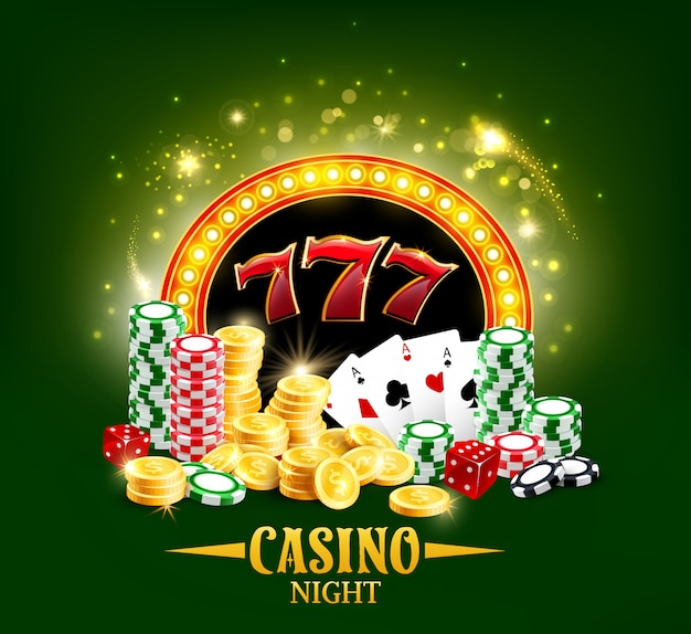 Casino poker cards and dice, jackpot gamble night Premium Vector
