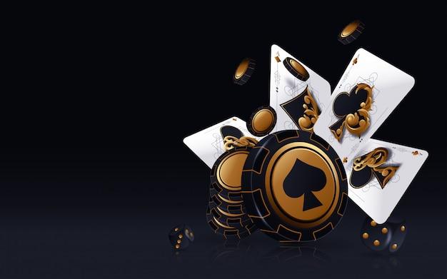 カジノポーカー。落下のポーカーカードとチップゲームのコンセプト。カジノ幸運な背景が分離されました。 Premiumベクター