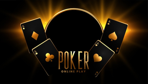 Casino poker game background in black and gold colors Free Vector