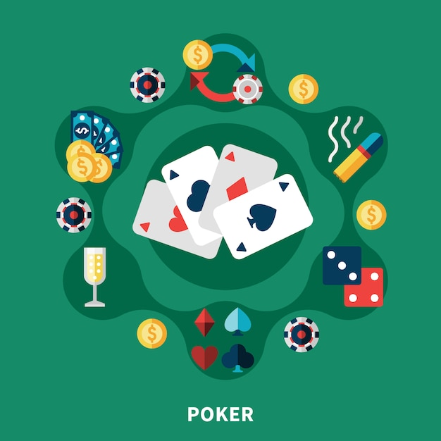 Casino poker icons round composition Free Vector