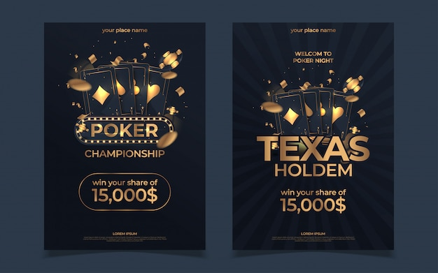 Casino poker tournament invitation design. gold text with playing chip and cards. poker party a4 flyer template. Premium Vector
