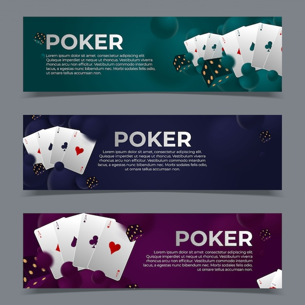 Casino poker web banners templates. Premium Vector